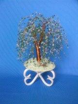 bonsai-salcie cu margele pe suport de metal